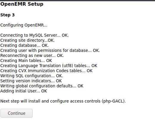 OpenEMR Setup Step 3