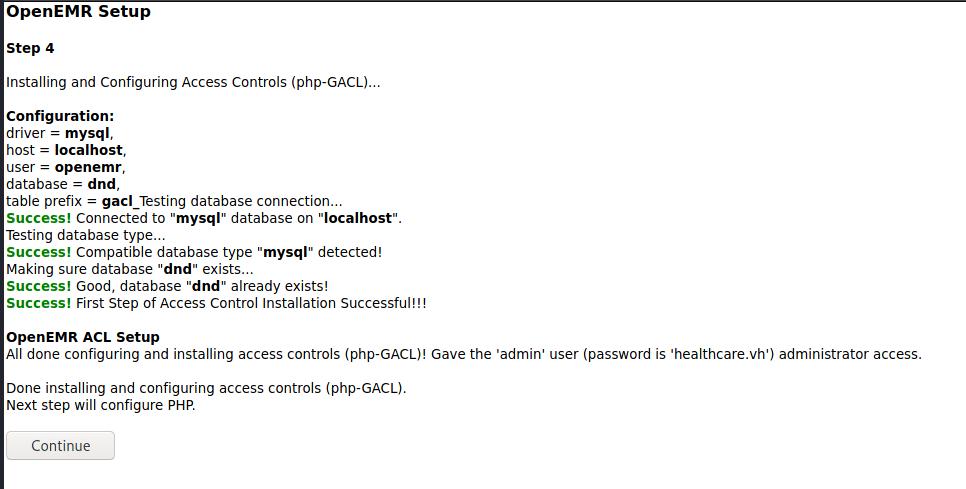 OpenEMR Setup Step 4