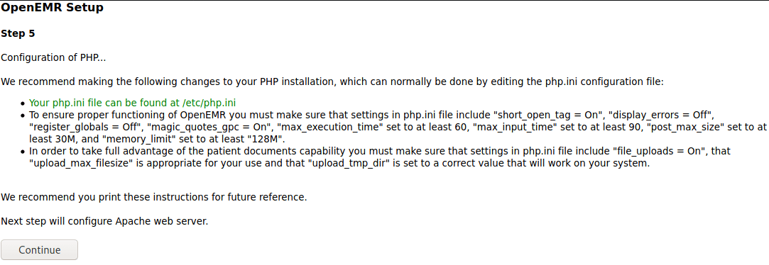 OpenEMR Setup Step 5