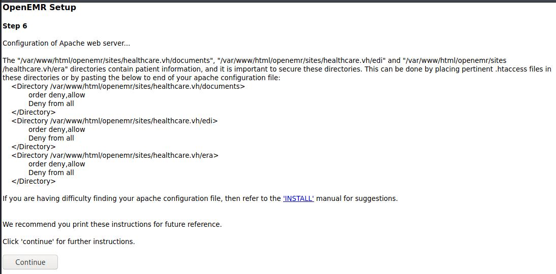 OpenEMR Setup Step 6