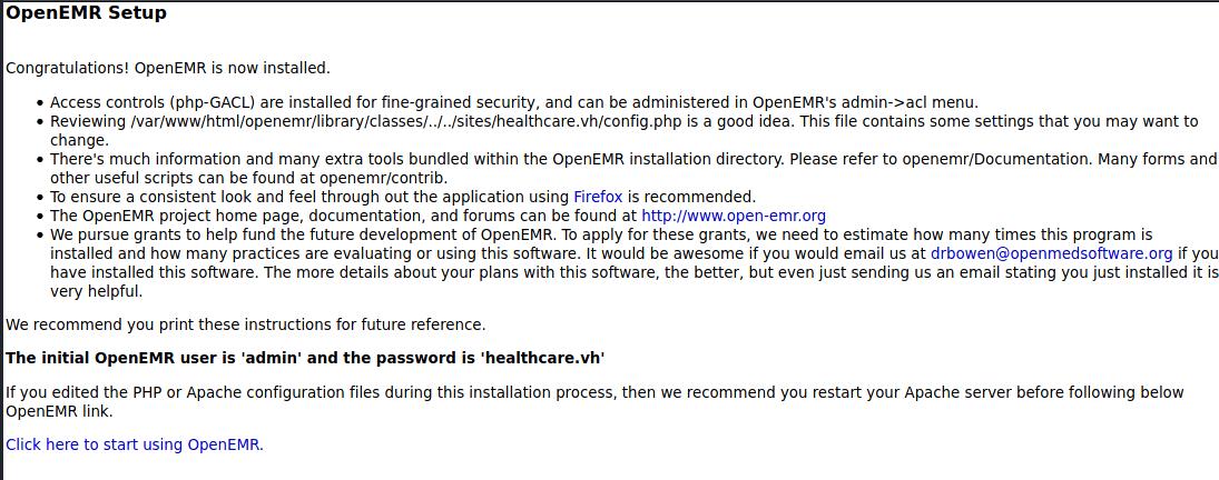 OpenEMR Setup Complete