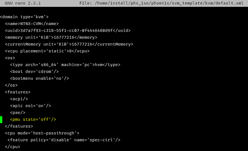 Modifying the default.xml file