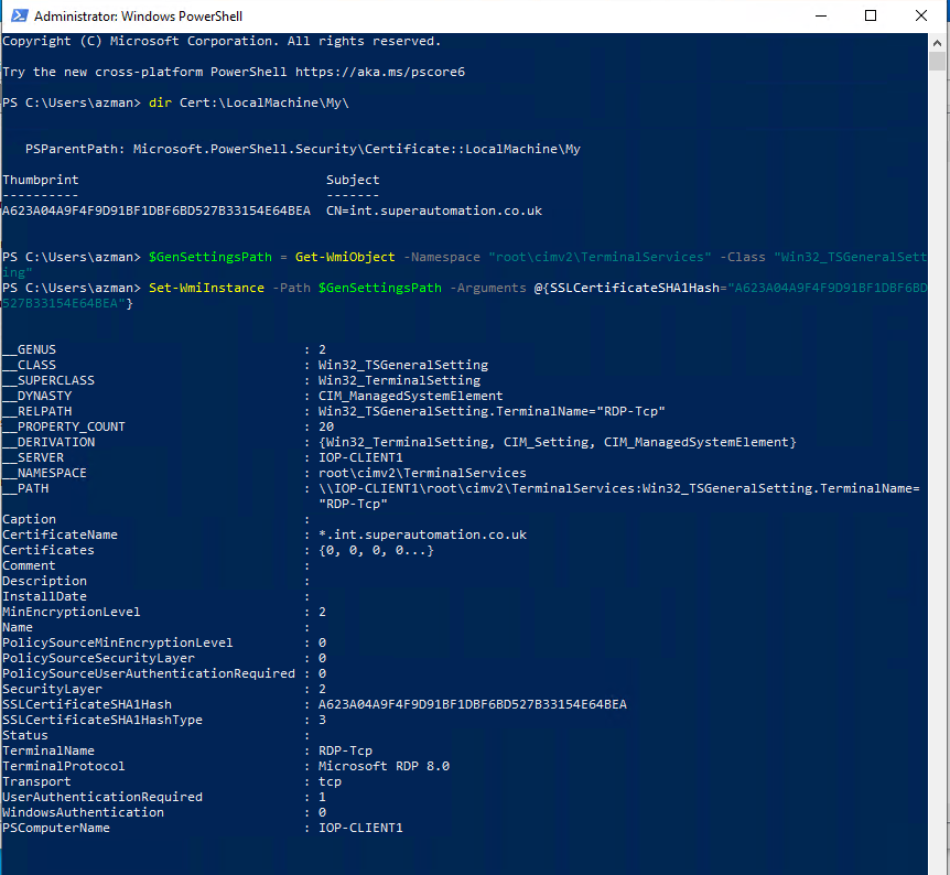 PowerShell output