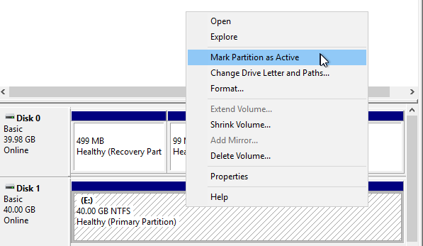 Mark Partition Active