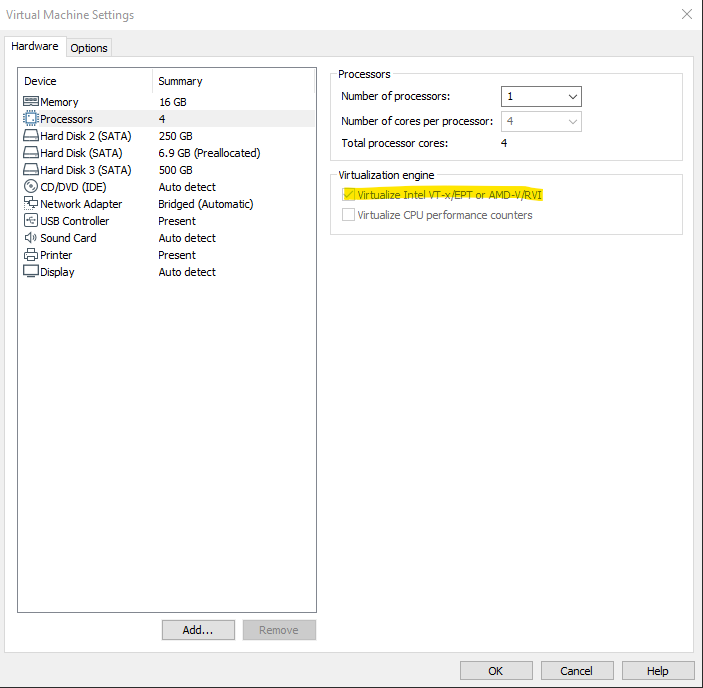 Enabling Virtualize Intel VT-x/EPT or AMD-V/RVI