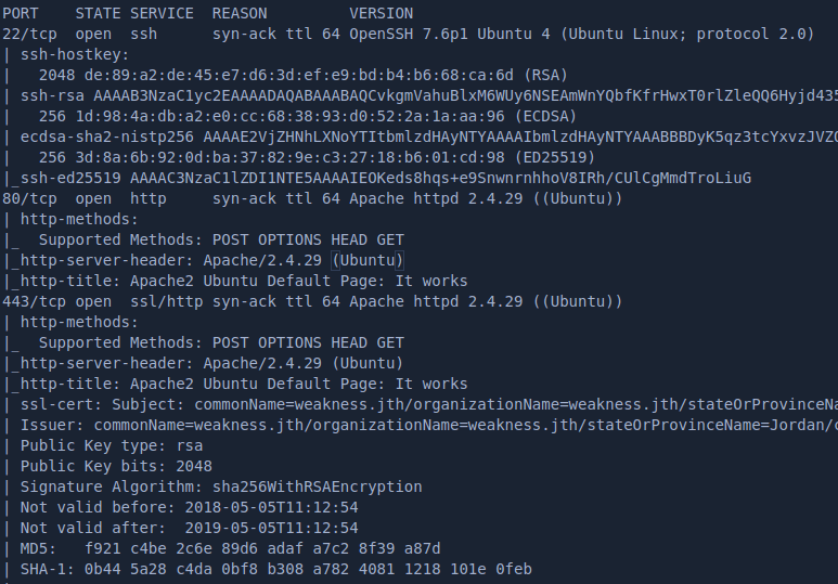 nmap tcp results