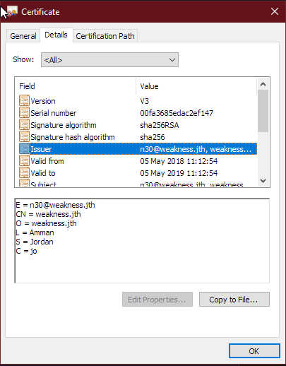 Server Certificate Username